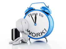 3d Stressed white people with alarm clock. Business concept Royalty Free Stock Image