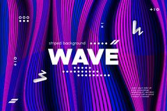 3d Striped Colorful Banner. 3d Abstract Linear Banner. Striped Ripple Background with Distortion and Movement Effect. Wave Template in Blue and Pink Colors stock illustration