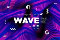 3d Striped Colorful Banner. 3d Abstract Linear Banner. Striped Ripple Background with Distortion and Movement Effect. Wave Template in Blue and Pink Colors vector illustration