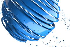 3D striped decorative balls. Abstract 3d illustration. Blue Stock Image