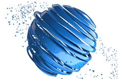 3D striped decorative balls. Abstract 3d illustration. Blue Stock Photos