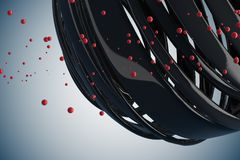 3D striped decorative balls. Abstract 3d illustration. Black and red on white Stock Photography