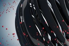 3D striped decorative balls. Abstract 3d illustration. Black and red on white Royalty Free Stock Photography