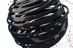 3D striped decorative balls. Abstract 3d illustration. Black and red on white Royalty Free Stock Images