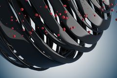 3D striped decorative balls. Abstract 3d illustration. Black and red on white Stock Photo