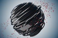 3D striped decorative balls. vector illustration