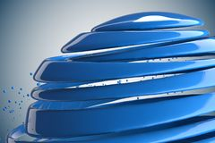 3D striped decorative balls. Abstract 3d illustration. Blue Stock Images