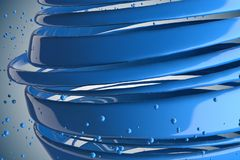 3D striped decorative balls. Abstract 3d illustration. Blue Royalty Free Stock Photos