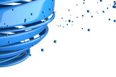 3D striped decorative balls. Abstract 3d illustration. Blue Stock Photo