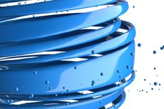 3D striped decorative balls. Abstract 3d illustration. Blue Royalty Free Stock Image