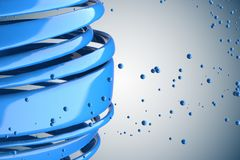 3D striped decorative balls. Abstract 3d illustration. Blue Royalty Free Stock Photography