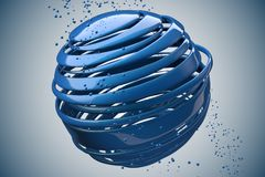 3D striped decorative balls. Abstract 3d illustration. Blue Royalty Free Stock Photo