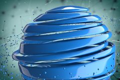 3D striped decorative balls. Abstract 3d illustration. Blue Royalty Free Stock Images