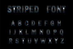 3D Striped Font on black background. Striped alphabet Royalty Free Stock Photos