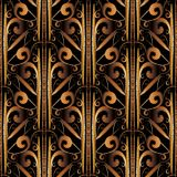 3d striped gold embroidery seamless pattern. Vintage ornamental abstract background. Hand drawn damask baroque style tapestry ornaments. Embroidered stripes Royalty Free Stock Photography