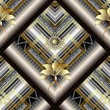 3d striped greek floral vector seamless pattern. Surface texture. Ornamental abstract geometric background. Tiled ancient ornaments with greek key, meandersm Royalty Free Stock Images