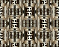3d striped greek key meander seamless pattern. Vector abstract g. Eometric background. Vintage ancient gold black  greek ornament with stripes, borders,  frames Stock Photo