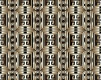 3d striped greek key meander seamless pattern. Vector abstract g. Eometric background. Vintage ancient gold black  greek ornament with stripes, borders,  frames Royalty Free Stock Photos