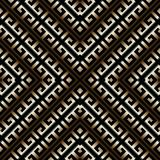 3d striped greek key meander seamless pattern. Vector abstract g. Eometric background. Vintage ancient gold black  greek ornament with stripes, rhombus,  frames Stock Image