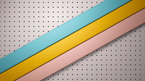3d stripes background on perforated metal plate Royalty Free Stock Image