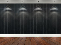 3d stripes wallpaper with ceiling lamps Stock Photography