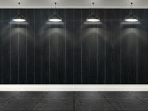 3d stripes wallpaper with ceiling lamps Royalty Free Stock Images