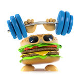3d Strong burger. 3d render of a burger lifting weights above his bun Royalty Free Stock Photo