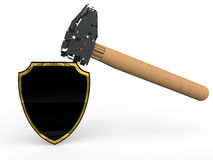 3d strong shield and hammer Stock Photos