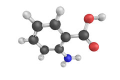 3d structure of Anthranilic acid, an aromatic acid the molecule Royalty Free Stock Images