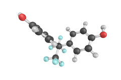 3d structure of Bisphenol AF (BPAF), a fluorinated organic compo Royalty Free Stock Photo