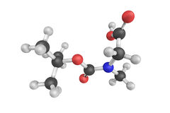 3d structure of boc-sarcosine, an amino acid in the form of crys Stock Image