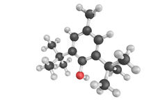 3d structure of Butylated hydroxytoluene, also known as dibutylhydroxytoluene, a lipophilic organic compound, chemically. A derivative of phenol, useful for its stock illustration