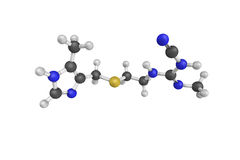 3d structure of Cimetidine, a histamine H2 receptor antagonist. That inhibits stomach acid production. Mainly used in the treatment of heartburn and peptic Stock Image