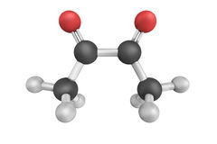 3d structure of Diacetyl, a yellow/green liquid  Stock Image