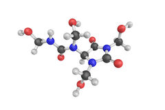3d structure of Diazolidinyl urea, an antimicrobial preservative. Used in cosmetics. Diazolidinyl urea acts as a formaldehyde releaser Stock Photography