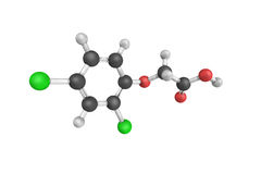 3d structure of 2,4-Dichlorophenoxyacetic acid  Stock Photo