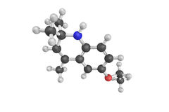 3d structure of Ethoxyquin, a quinoline-based antioxidant used a. S a food preservative in certain countries and a pesticide to control scald on pears after Stock Photos