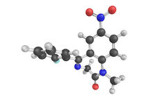 3d structure of Flunitrazepam, also known as Rohypnol, an interm Stock Photo