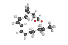 3d structure of Gamma-linolenic acid or GLA γ-Linolenic acid Royalty Free Stock Photo