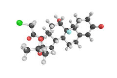 3d structure of Halcinonide, a high potency corticosteroid. Stock Photos