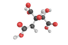 3d structure of Hydroxycitric acid, a derivative of citric acid Royalty Free Stock Photos