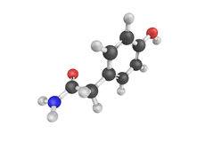 3d structure of 4-Hydroxyphenylacetamide. Used as an intermediate for the synthesis of Atenolol and various other organic compounds and pharmaceuticals. It is Royalty Free Stock Images