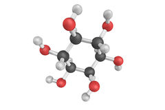 3d structure of Inositol, a six-fold alcohol of cyclohexane. It Stock Images