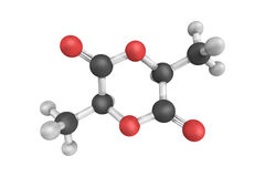 3d structure of Lactide, the cyclic di-ester of lactic acid. Royalty Free Stock Photo