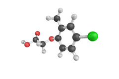 3d structure of MCPA, a powerful, selective. Widely used phenoxy herbicide. The pure compound is a brown-colored powder Royalty Free Stock Photos