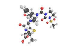 3d structure of Mezlocillin, a broad-spectrum penicillin antibio. Tic. It is active against both Gram-negative and some Gram-positive bacteria Royalty Free Stock Photography