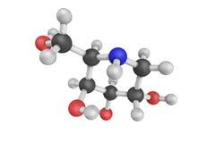 3d structure of Migalastat (INN/USAN), or 1-deoxygalactonojirimy Royalty Free Stock Photography