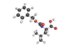 3d structure of N-Cbz-L-Leucine, a viscous liquid of yellow  Stock Photo