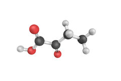 3d structure of 2-oxobutanoic acid, a food and flavor ingredient.  stock illustration