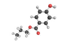 3d structure of Propylparaben, an n-propyl ester of p-hydroxybenzoic acid, which occurs as a natural substance found in plants. And insects, and is manufactured stock images